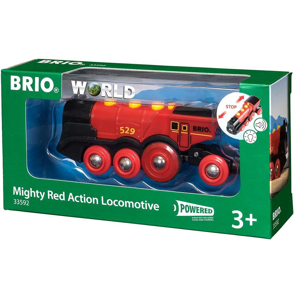 Могучий красный локомотив для железной дороги BRIO на батарейках (33592) | ZABAVKA