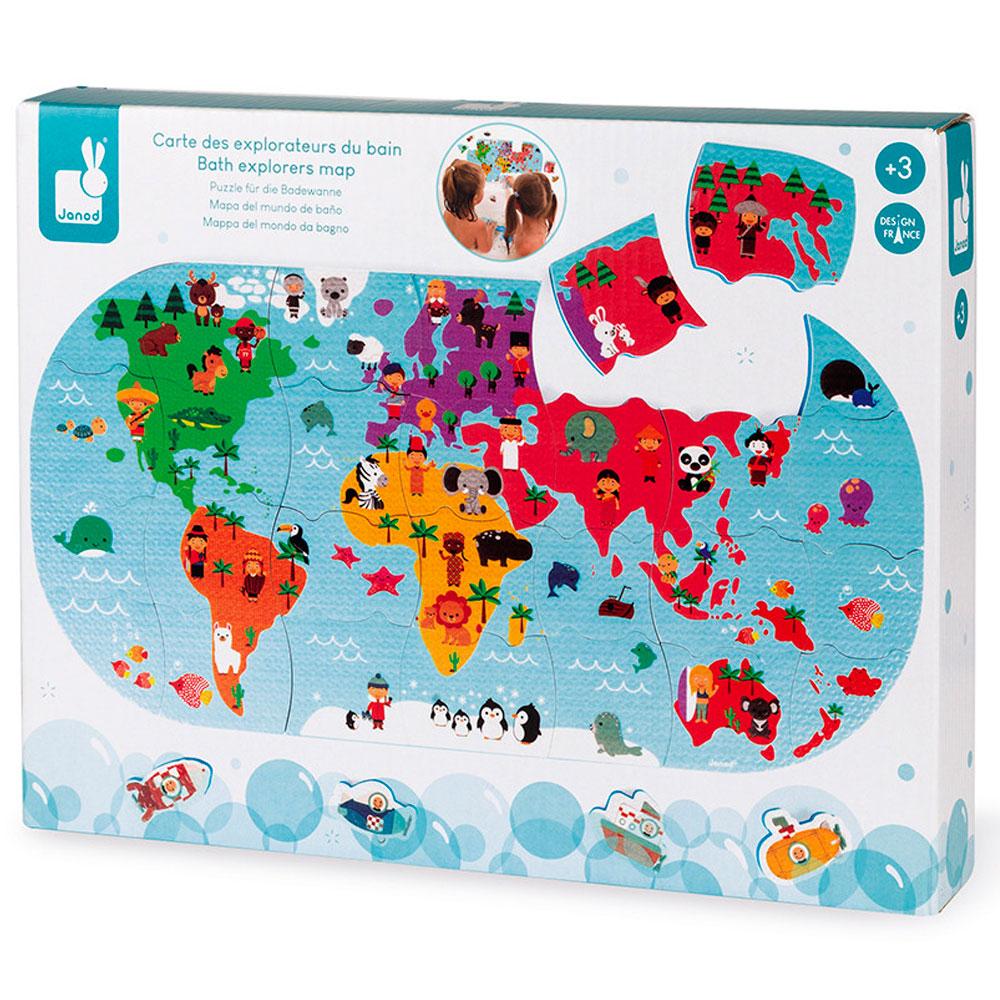 Игрушка для купания Janod Пазл Карта мира (J04719) | ZABAVKA