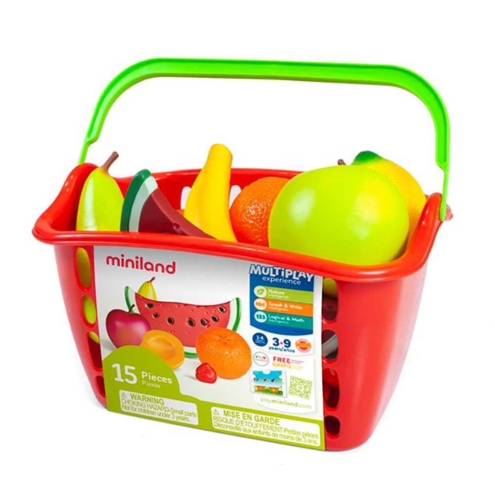 Игровой набор фруктов Miniland в пластиковой корзине 15 эл. (30765)   ZABAVKA