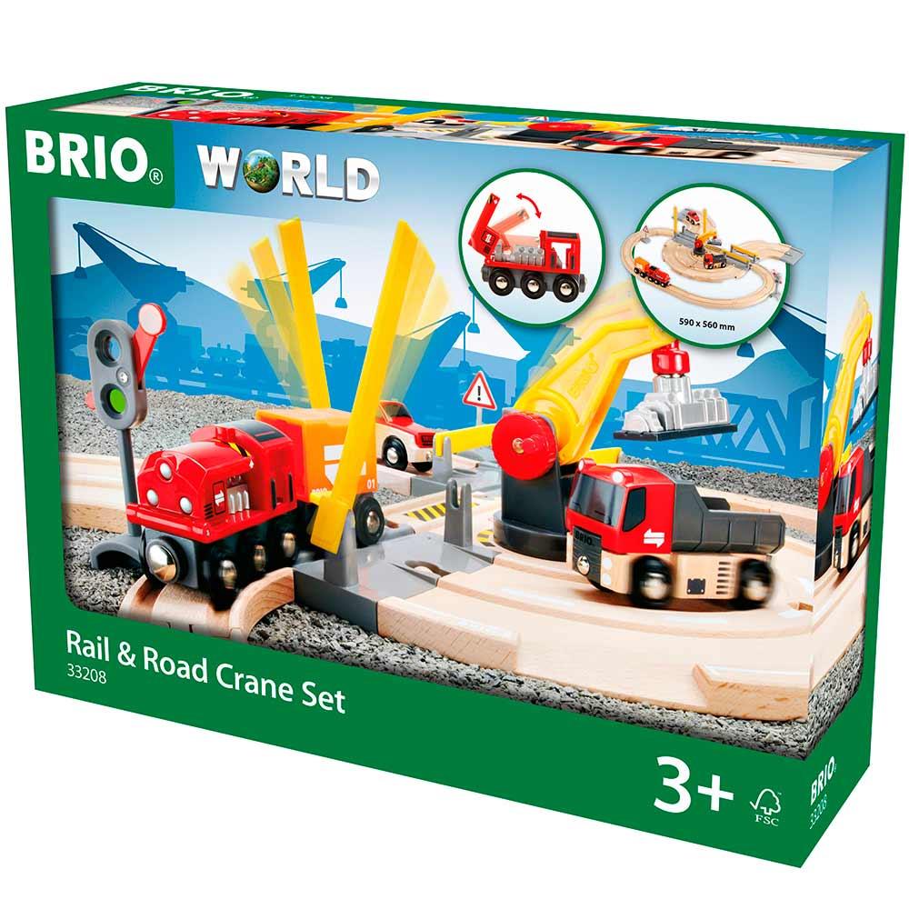 Детская железная дорога BRIO c переездом и краном (33208)   ZABAVKA