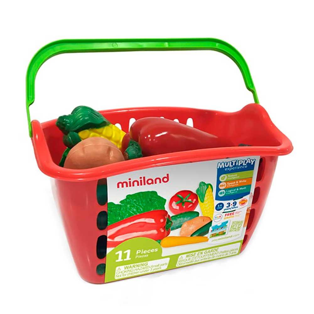 Игровой набор овощей Miniland в пластиковой корзине 11 эл. (30766) | ZABAVKA